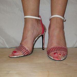 Barbara Bui Pink Snakeskin Atkinson Sandals